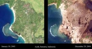 Peta sebagian wilayah Aceh sebelum dan sesudah tsunami 2004 (taken from google)